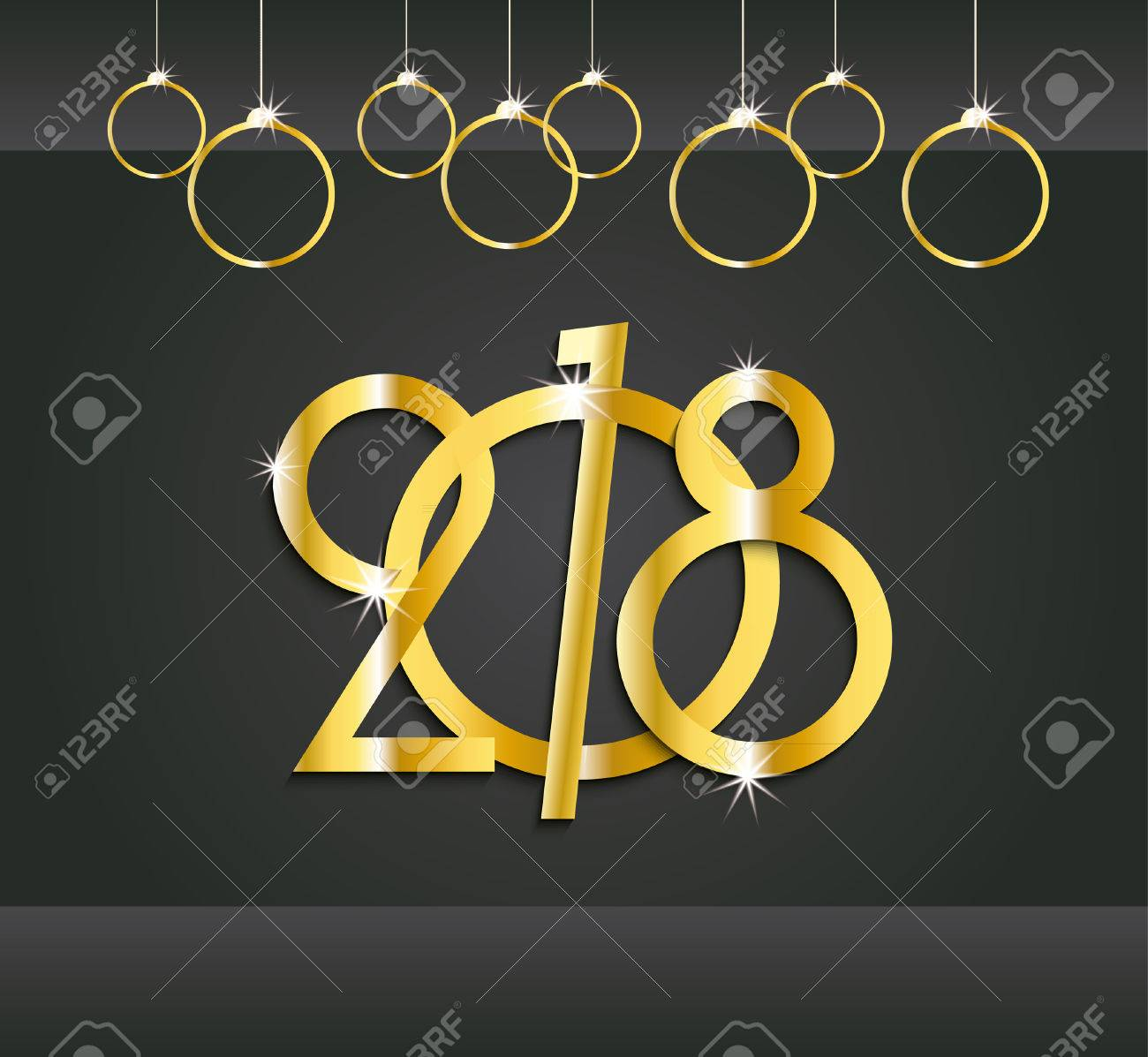 2018 new year or christmas dark background creative design gold numbers for your greetings card