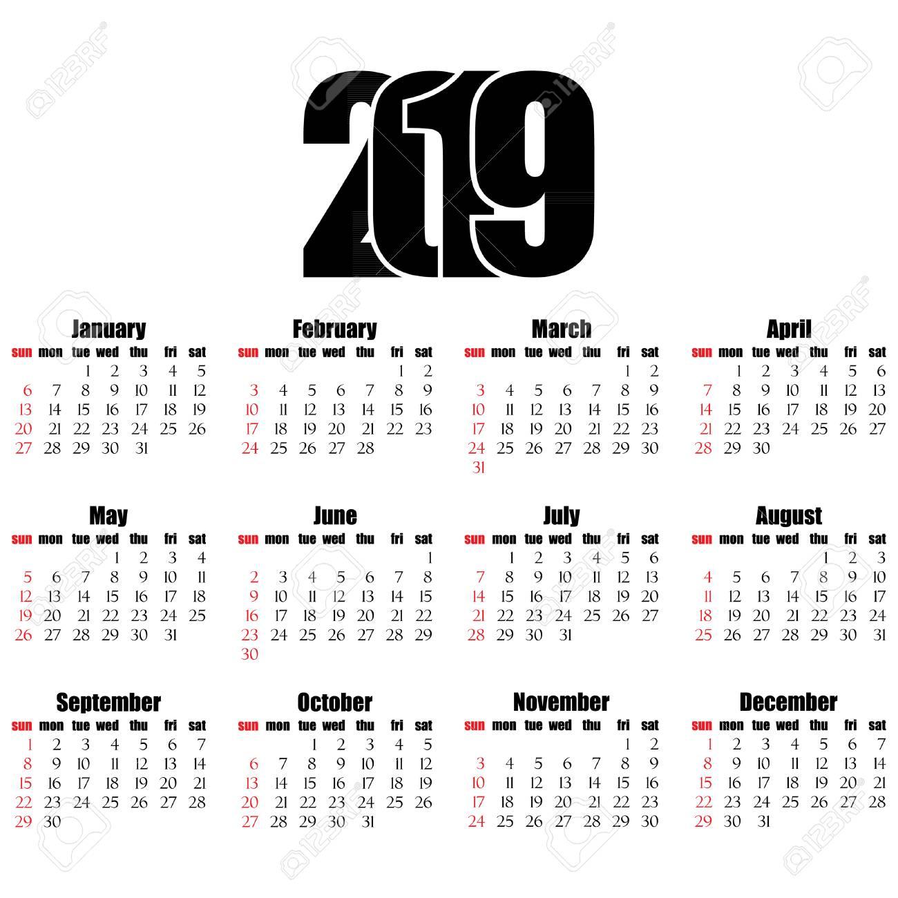 Calendario 2019 Con Numero Week.Calendar 2019 Year Flat Design Simple Style Week Starts From