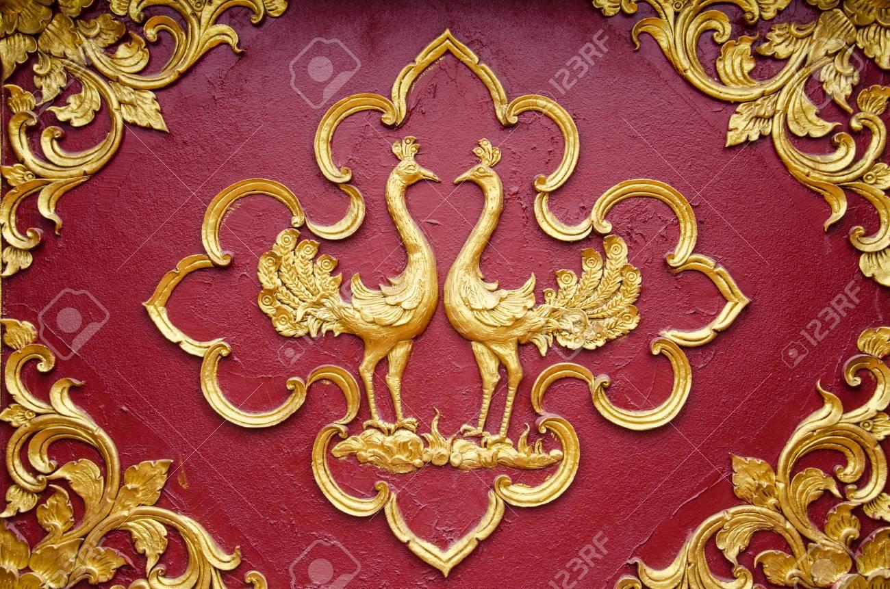 Close Up Beautiful Stuccothai Art Traditionnel Fantastique Bête Ou Animal Lai Thai à La Main Fond D écran Texture Texture