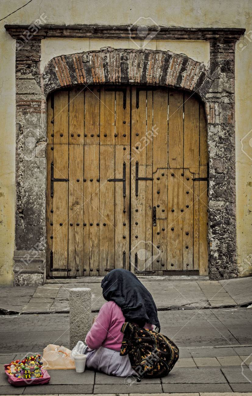 Exterior Door Antique In Mexico City With Poor Lady Stock Photo ...
