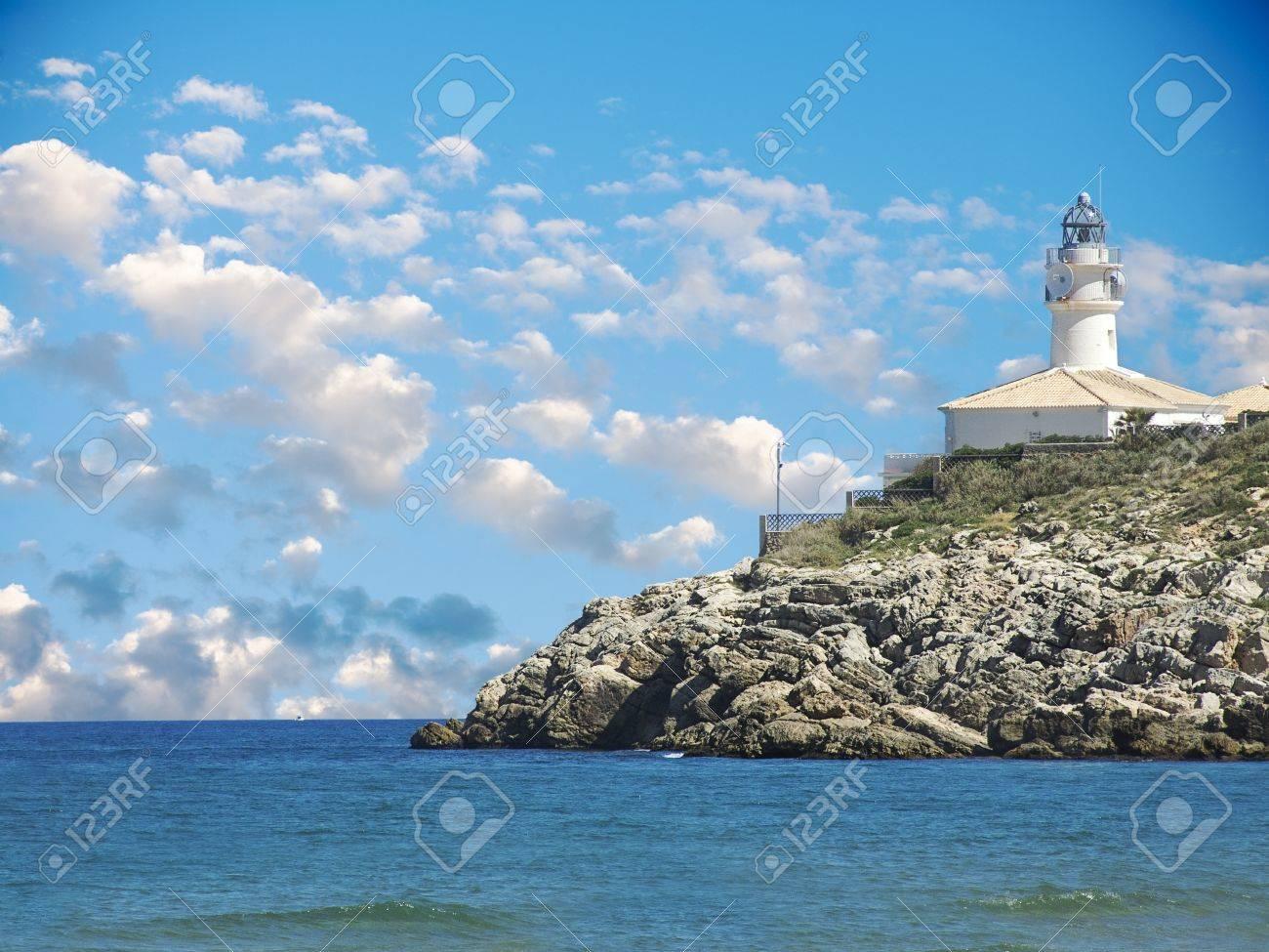 Faro de Cullera en Valencia Vista Foto de archivo - 13484582