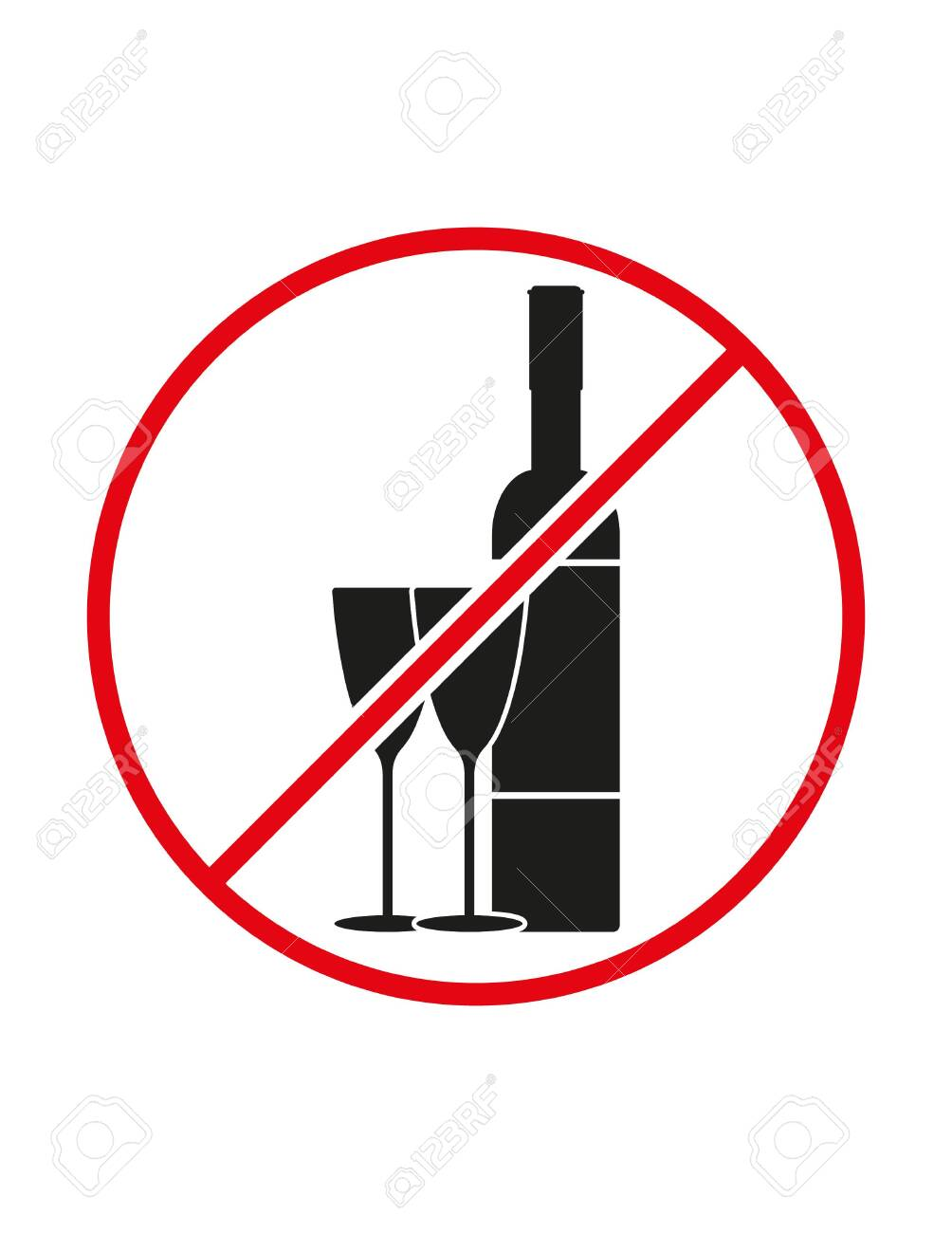 Alcohol not allowed black white red vector sign ban symbol - 134860630