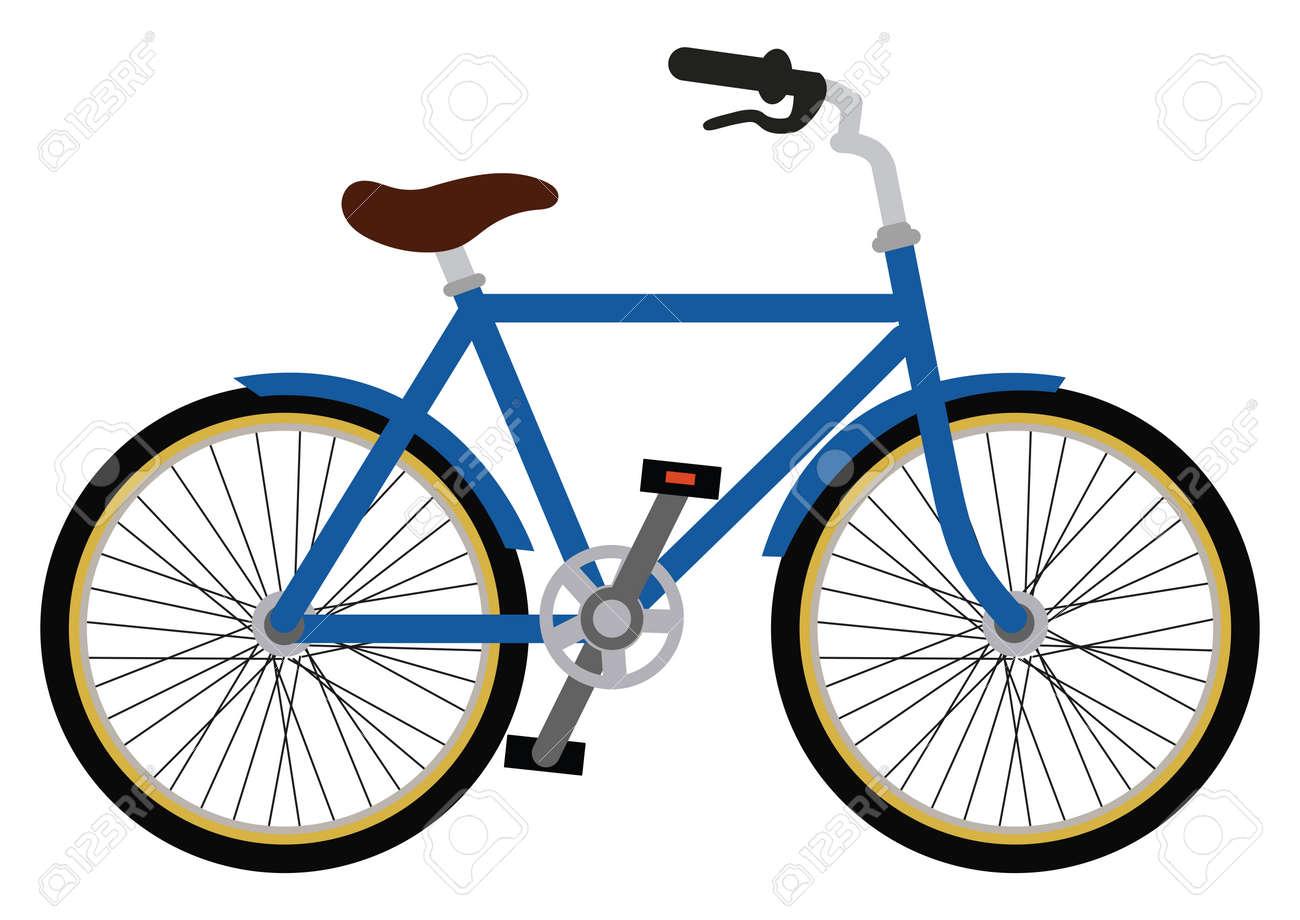 Blue City bicycle vector illustration. Bike isolated on white background - 155296479
