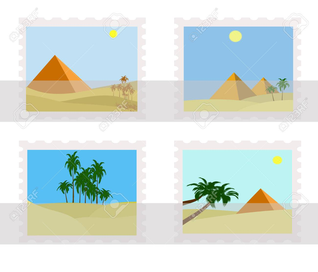 illustration of egypt pyramids on postage stamps in album - 6607281