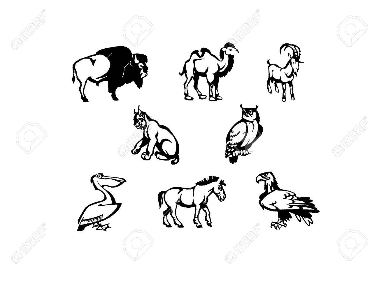illustration of some icons animals black and white - 6607317