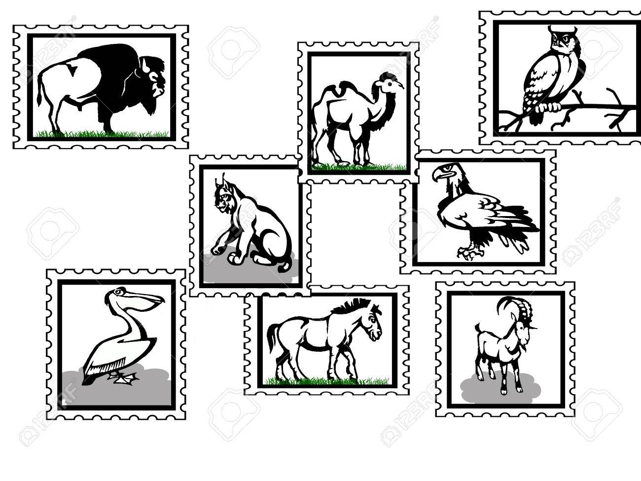 illustration of  icons with wild animals birds and mammals postage stamps Stock Vector - 6607411