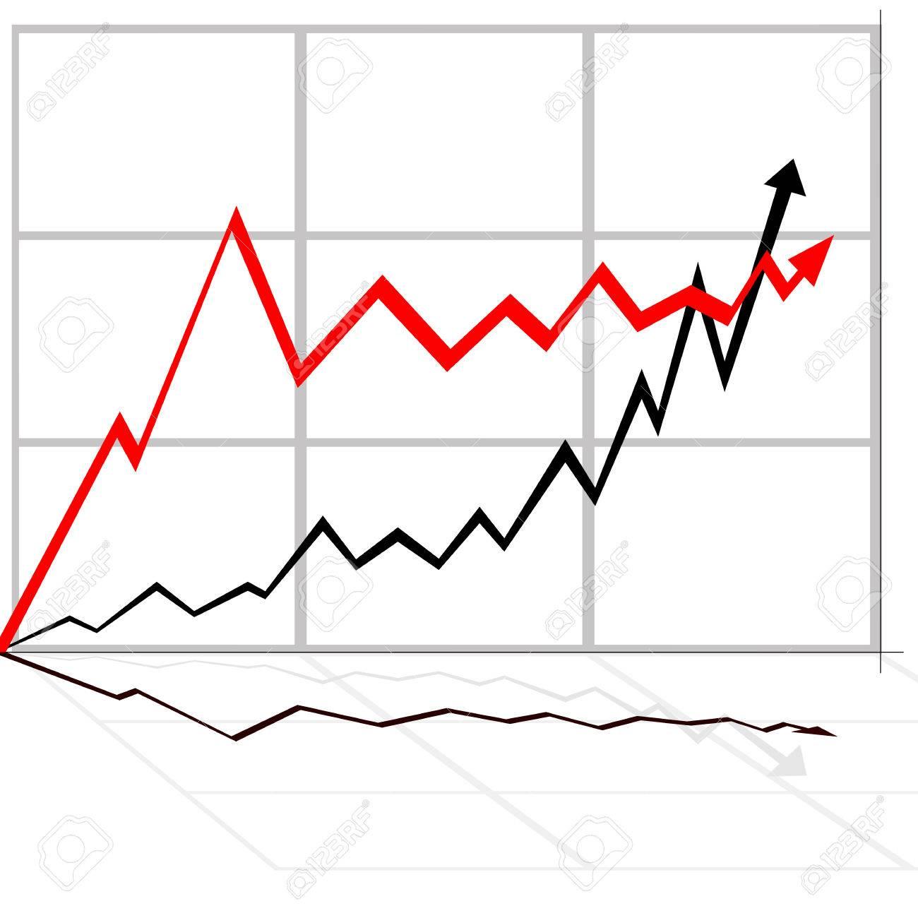 illustration of rising line black and white - 6824408