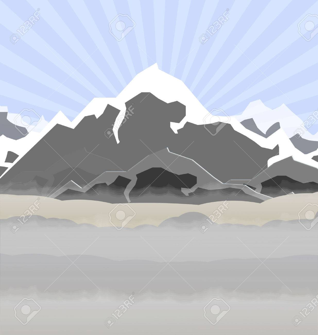 illustration of high mountains in fog - 7175877