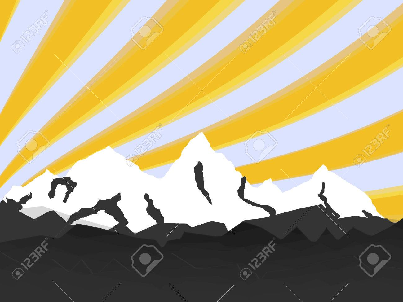 illustration high mountain with rays - 7383923