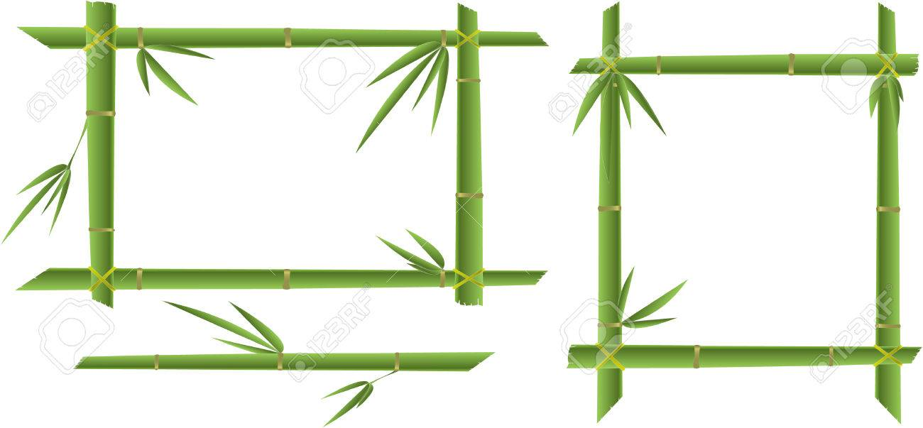 green bamboo frame isolated - 7842297