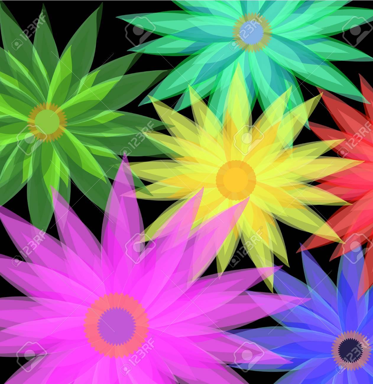 black background flowers Stock Vector - 8069306
