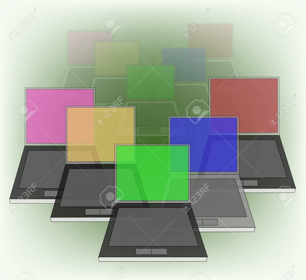 abstract background with computers - 8069315