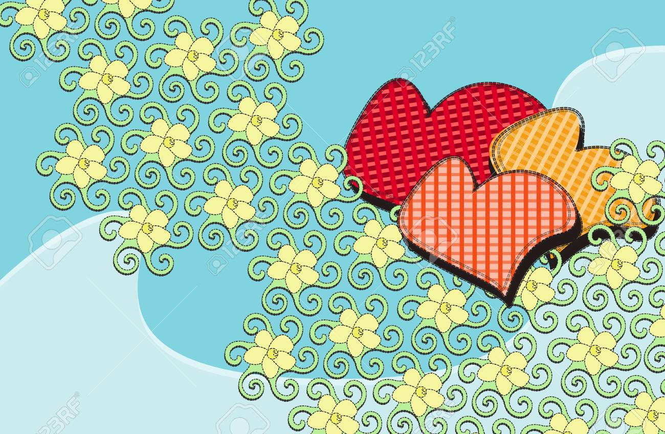 illustration cartoon floral backgrounds with hearts Stock Vector - 8501627