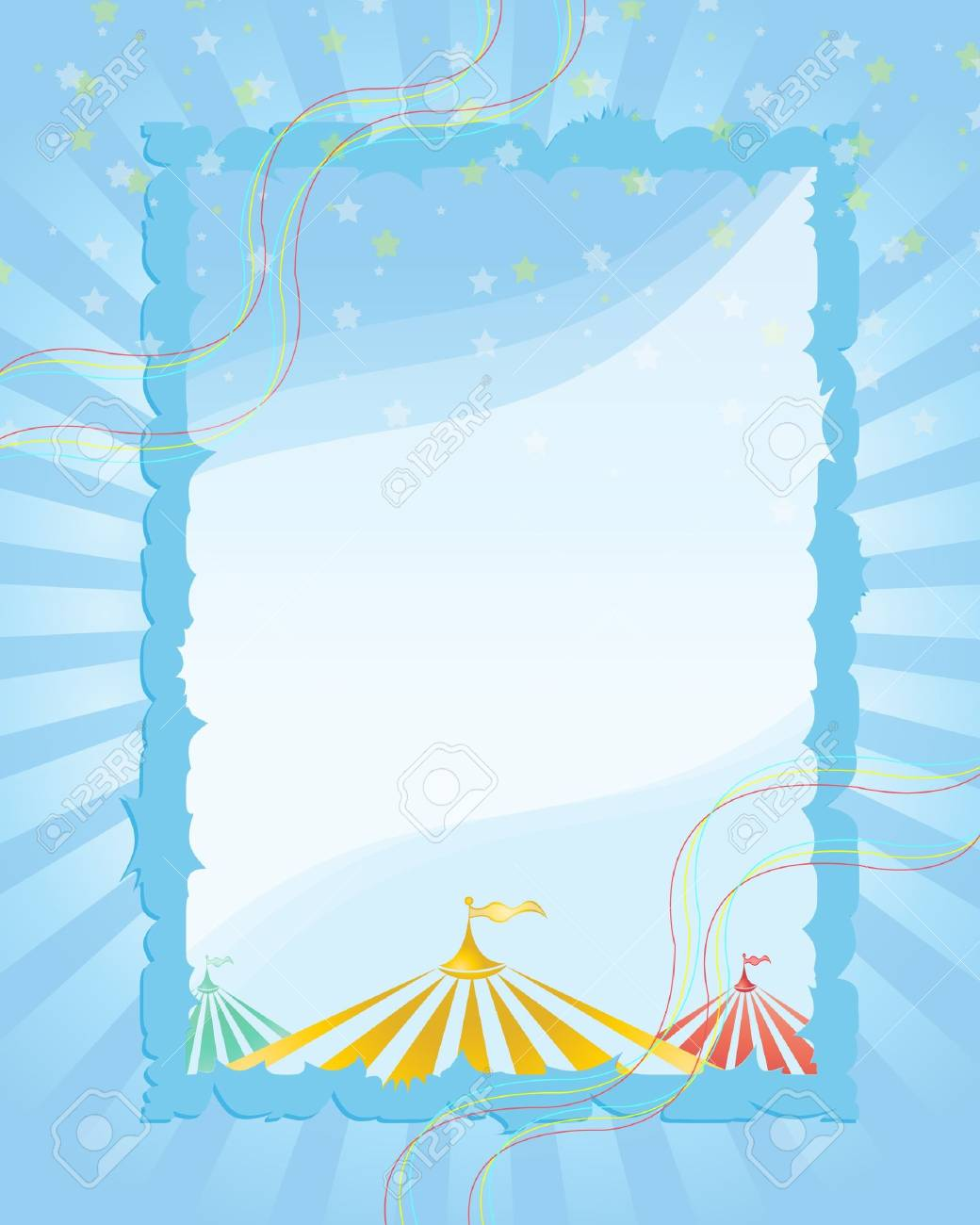 Stock Vector Illustration: A retro circus. red background for a poster - 9557904