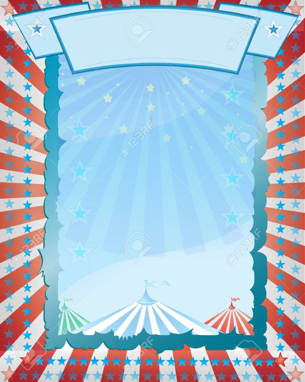 Stock Vector Illustration: A retro circus. red background for a poster - 9557911