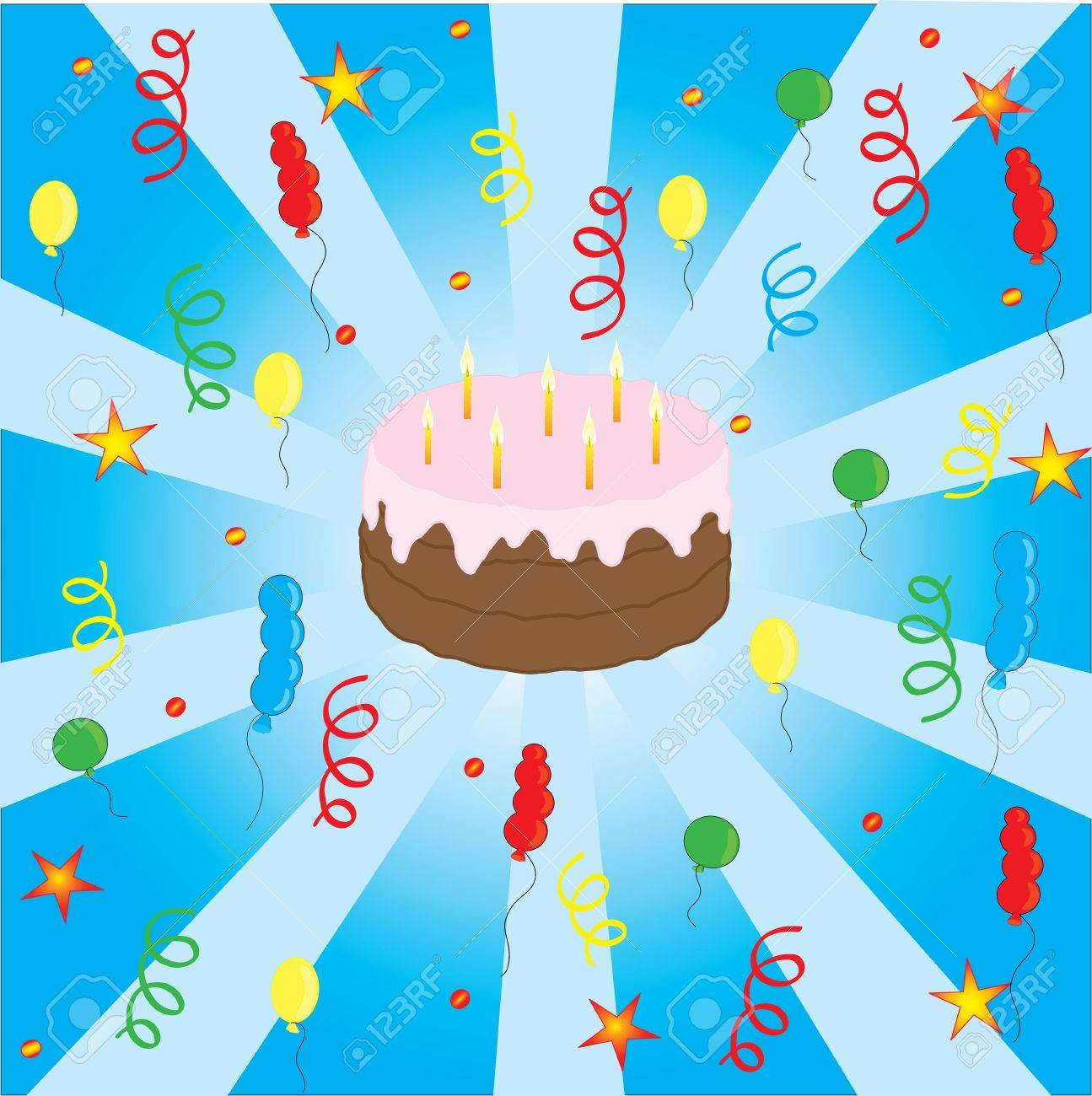 Celebration with cake and many balloons Stock Vector - 8476821