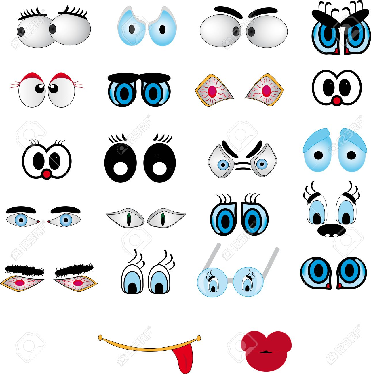 Cartoon lips, eye set Stock Vector - 10845372