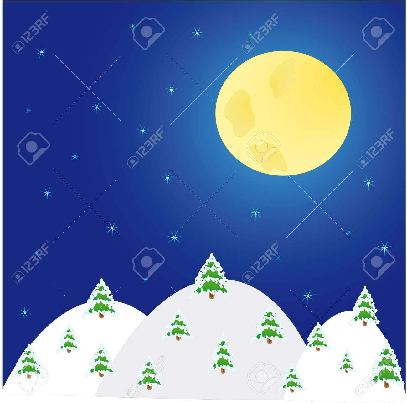 night winter landscape with  trees and  moon Stock Vector - 11552312