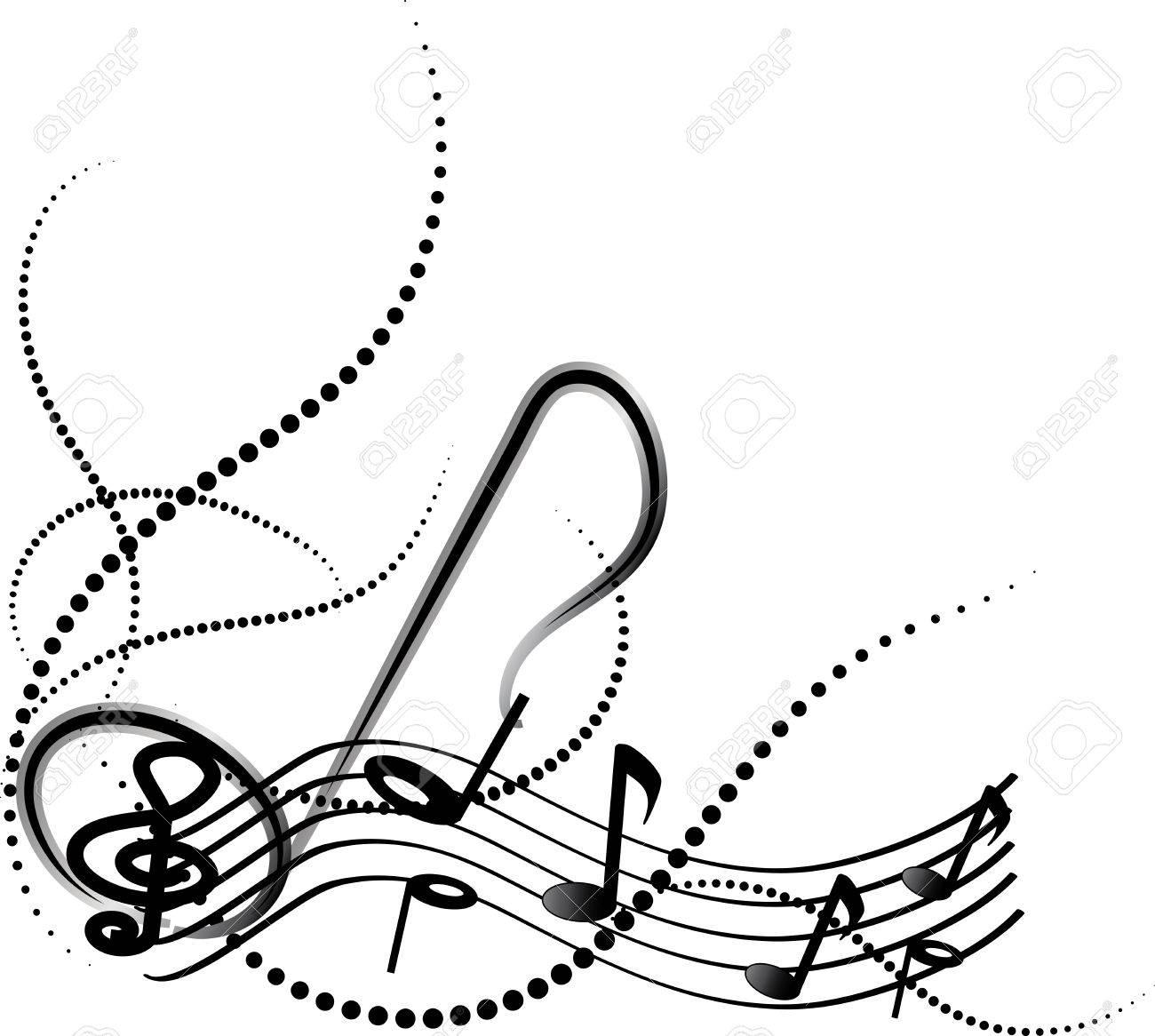 ornamental music notes with swirls on white background royalty free rh 123rf com Black Music Swirls Black Swirl Clip Art