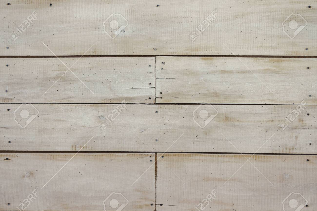 White wooden wall, detailed background photo texture. Pastel wood plank fence close up - 123380898