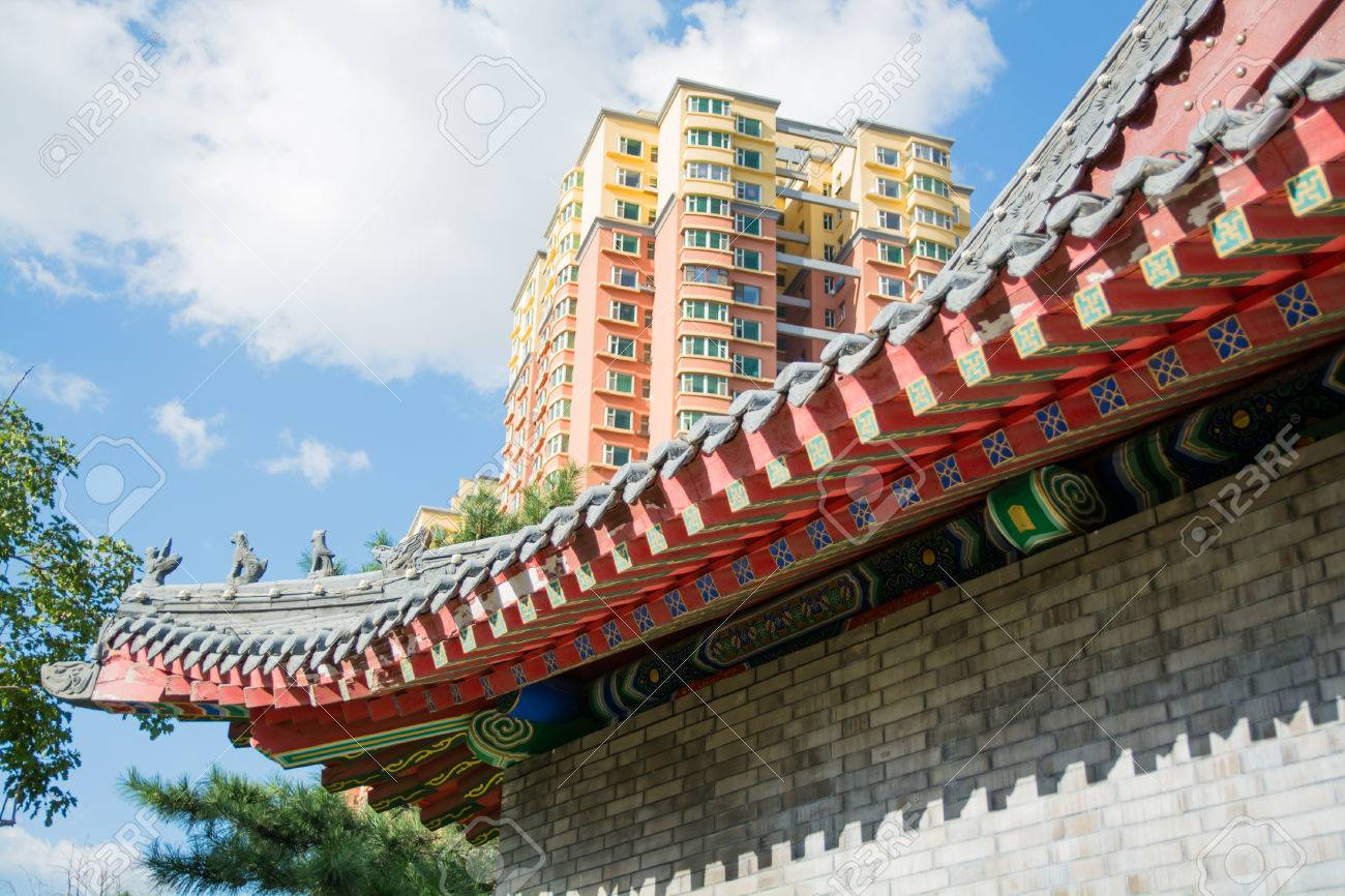 cornice of traditional chinese roof and part of contemporary stock
