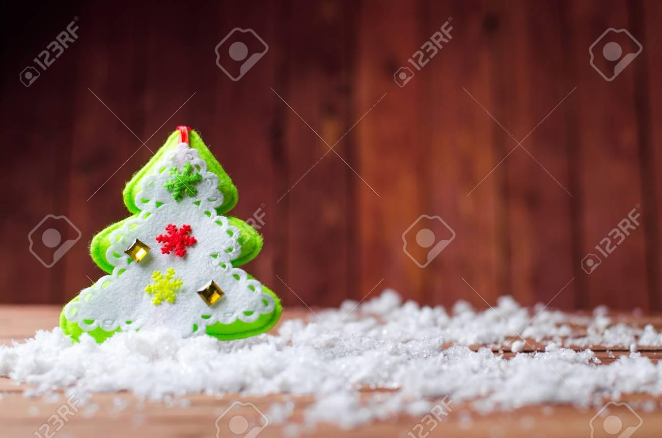 Christmas Fleece.Christmas Decorations On Wooden Background Tree Soft Fleece