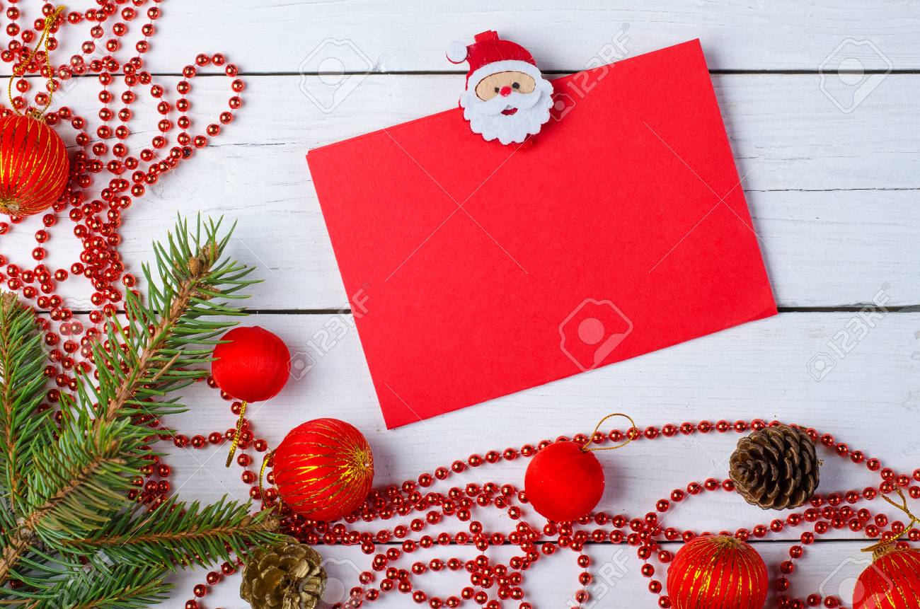 christmas decorations sheet for your text on the wooden background letter to santa claus - Christmas Letter Decorations