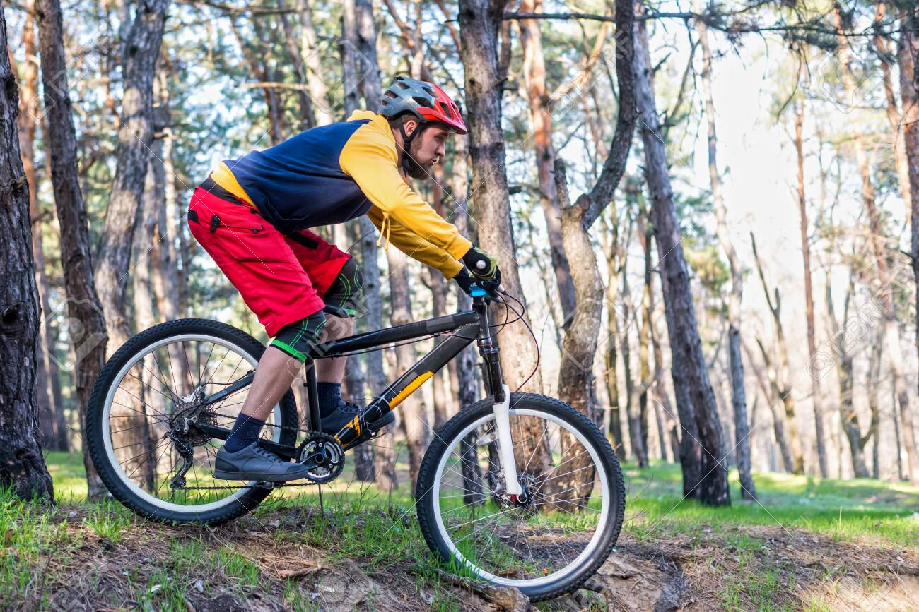 Cycling, a cyclist in bright clothes riding a mountain bike through the woods. Active lifestyle, enduro competition. - 120629479