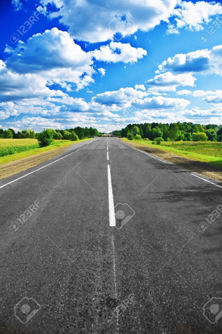 road on field and forest Stock Photo - 11503873