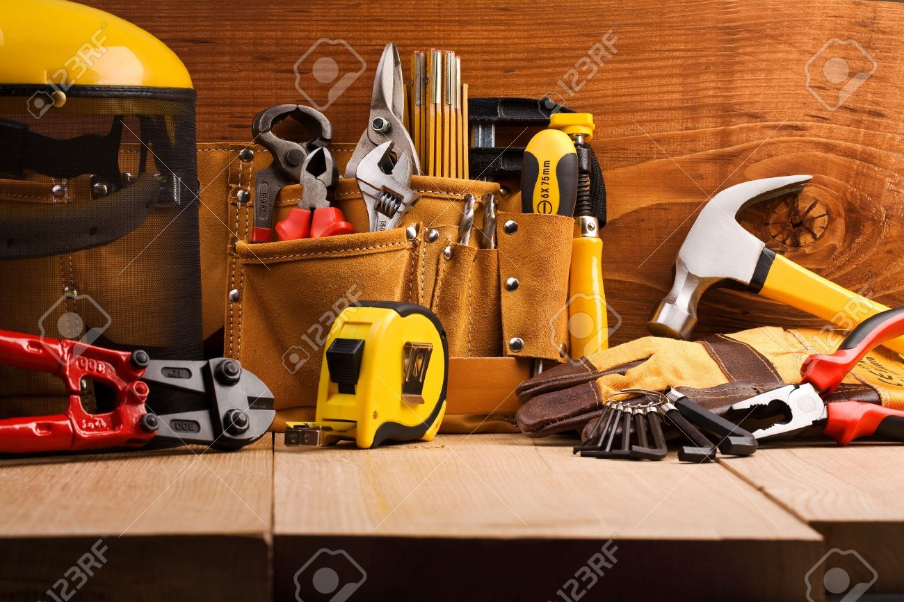 set of working tools on wooden boards Stock Photo - 11526969
