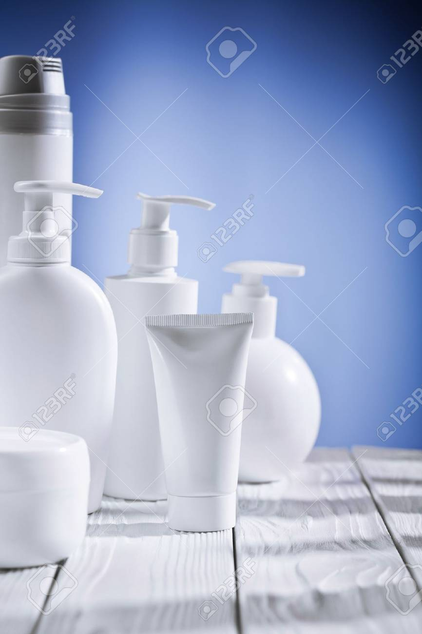 skincare composition on a blue background and white table Stock Photo - 13914283