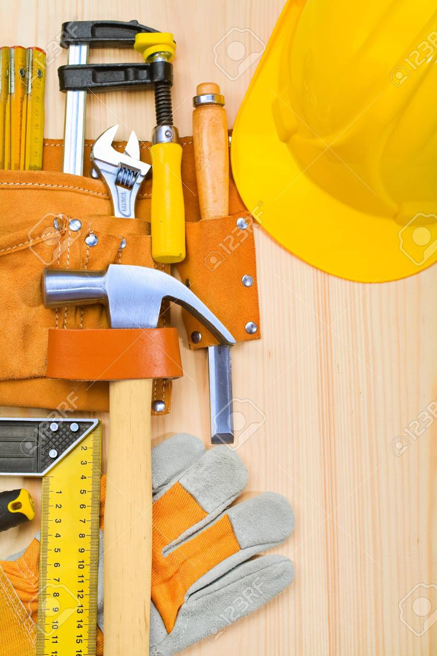 tools in belt on boards Stock Photo - 14356469