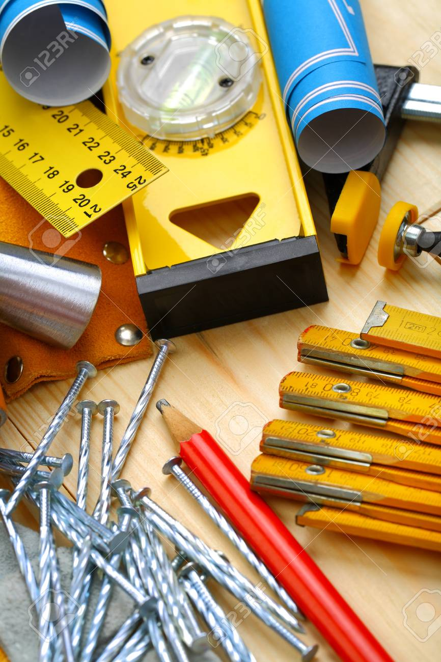 construction tools on wood Stock Photo - 14483435