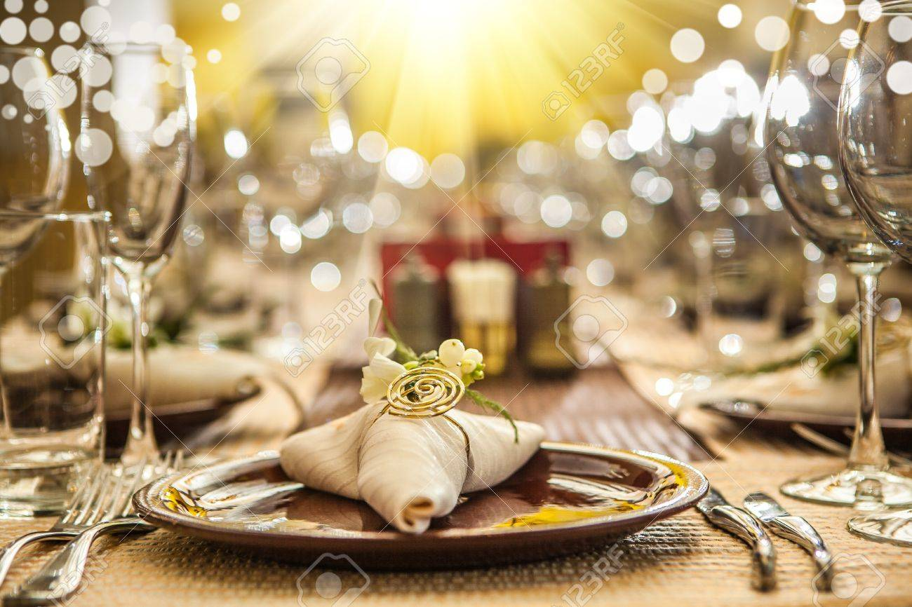 Fancy restaurant table setting - Stock Photo Serving Of Restaurant Table Close Up
