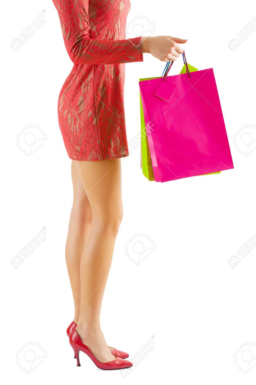 isolated female legs and paperbags Stock Photo - 18797231