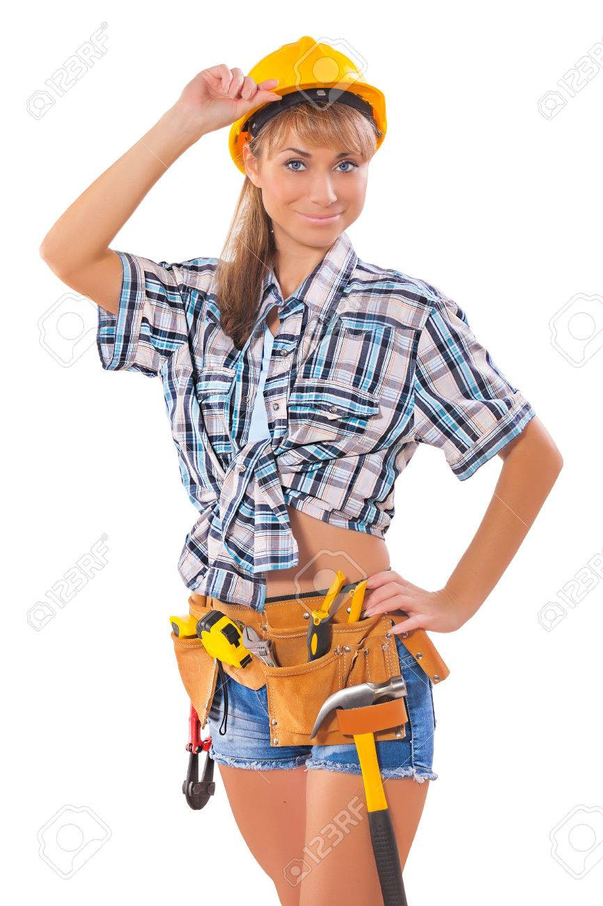 sexi female worker over white stock photo, picture and royalty free