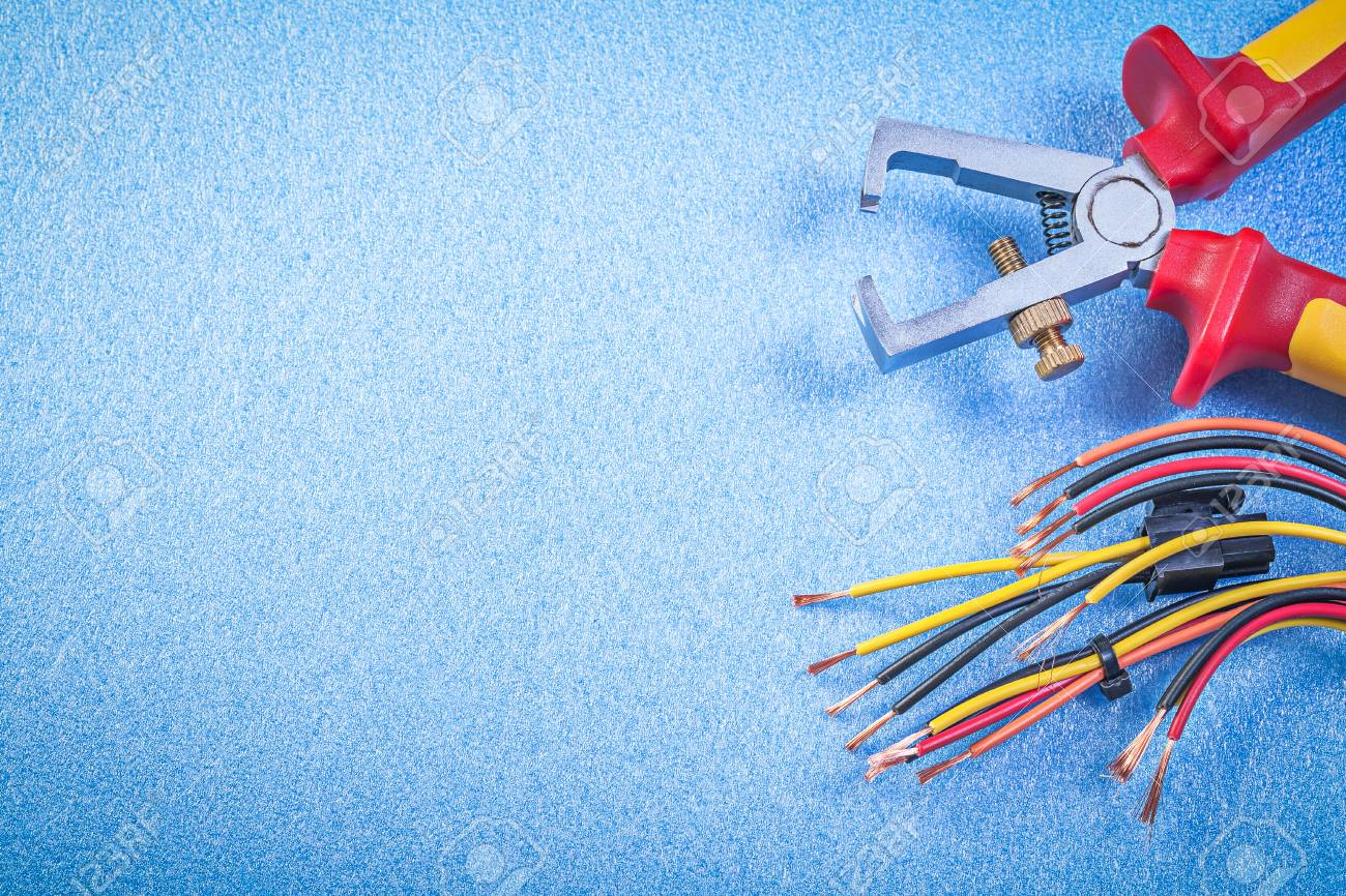 Insulated Wire Strippers Electrical Cables On Blue Background ...