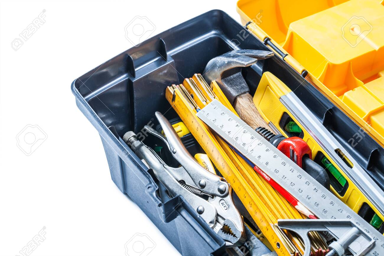 close up view tools in toolbox isolated - 121311682