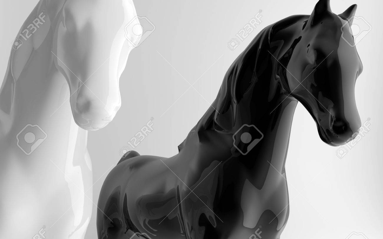 white and black glossy horses Stock Photo - 11195727