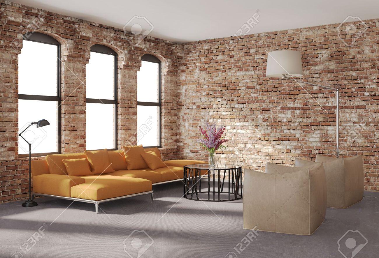 Moderne Stilvolle Loft-Interieur, Ziegelwände, Orange Sofa ...