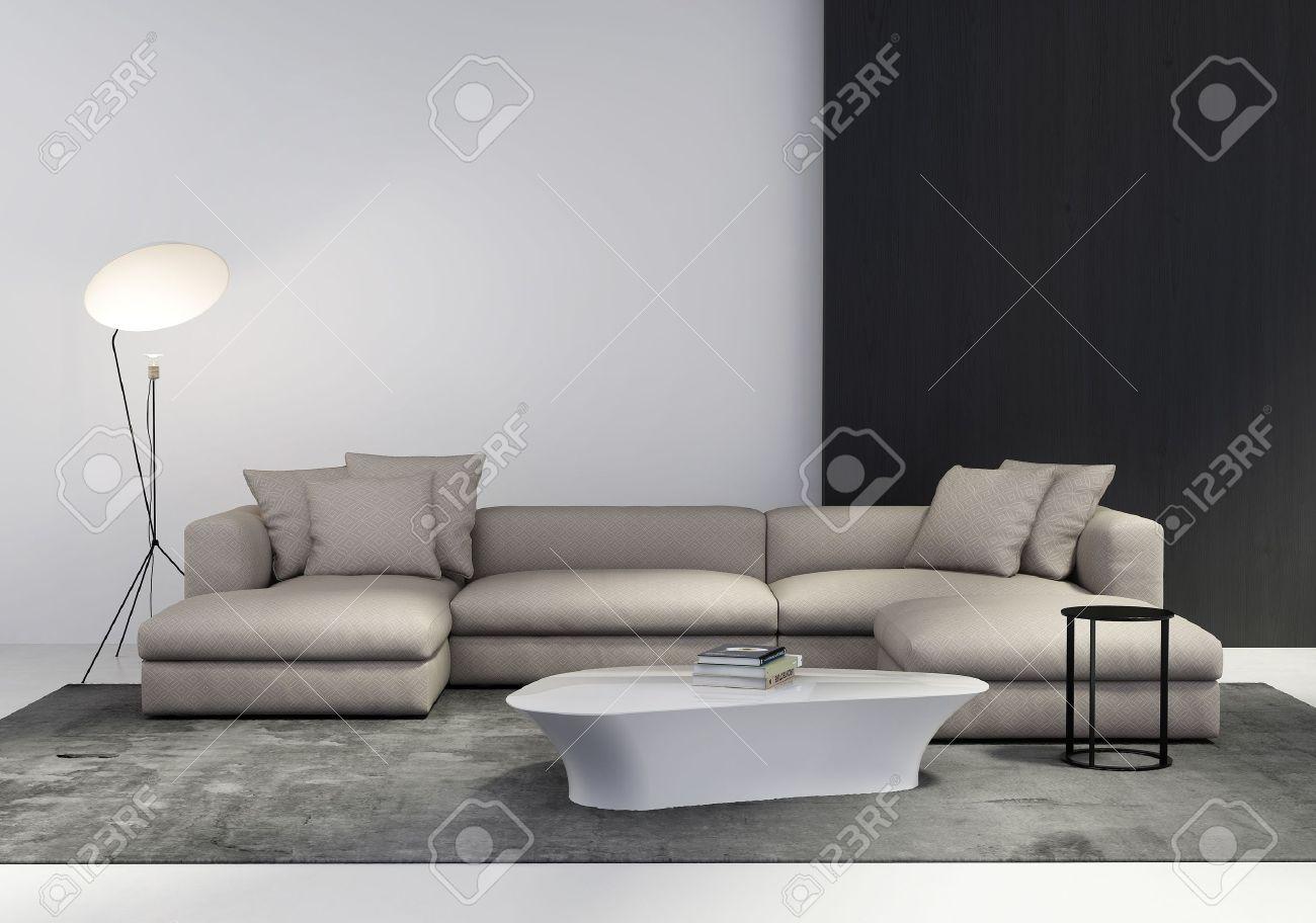 Samtida elegant vardagsrum inredning med soffa, soffbord, sidobord ...