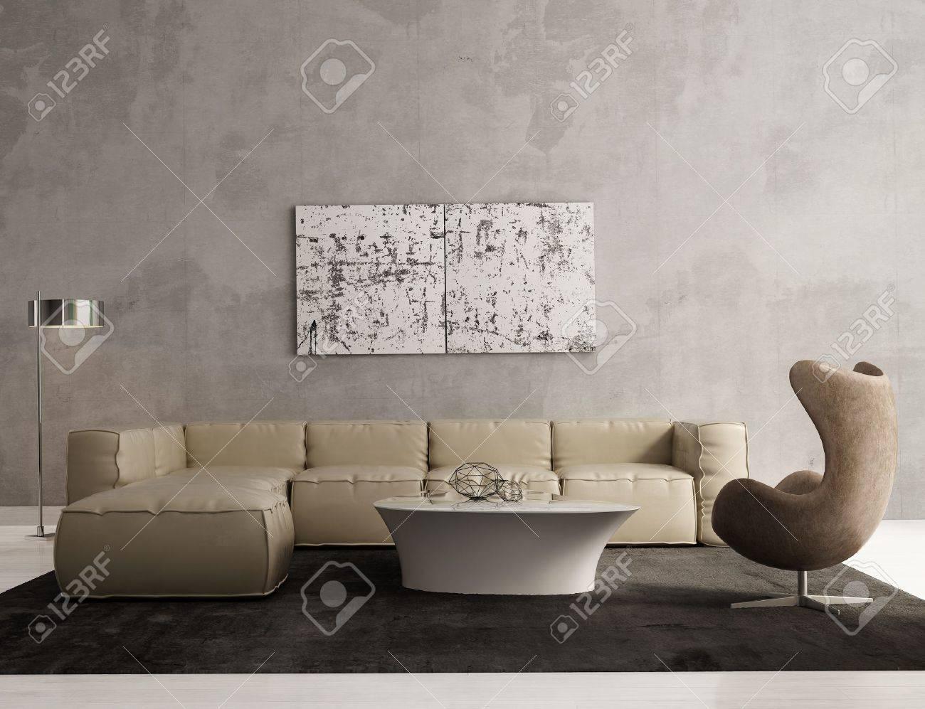 Eigentijdse grijze woonkamer interieur royalty vrije foto ...