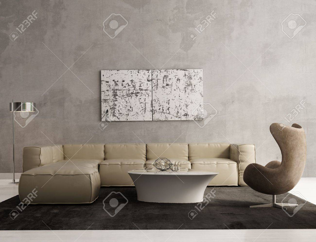 Contemporary Grey Living Room Interior Stock Photo Picture And