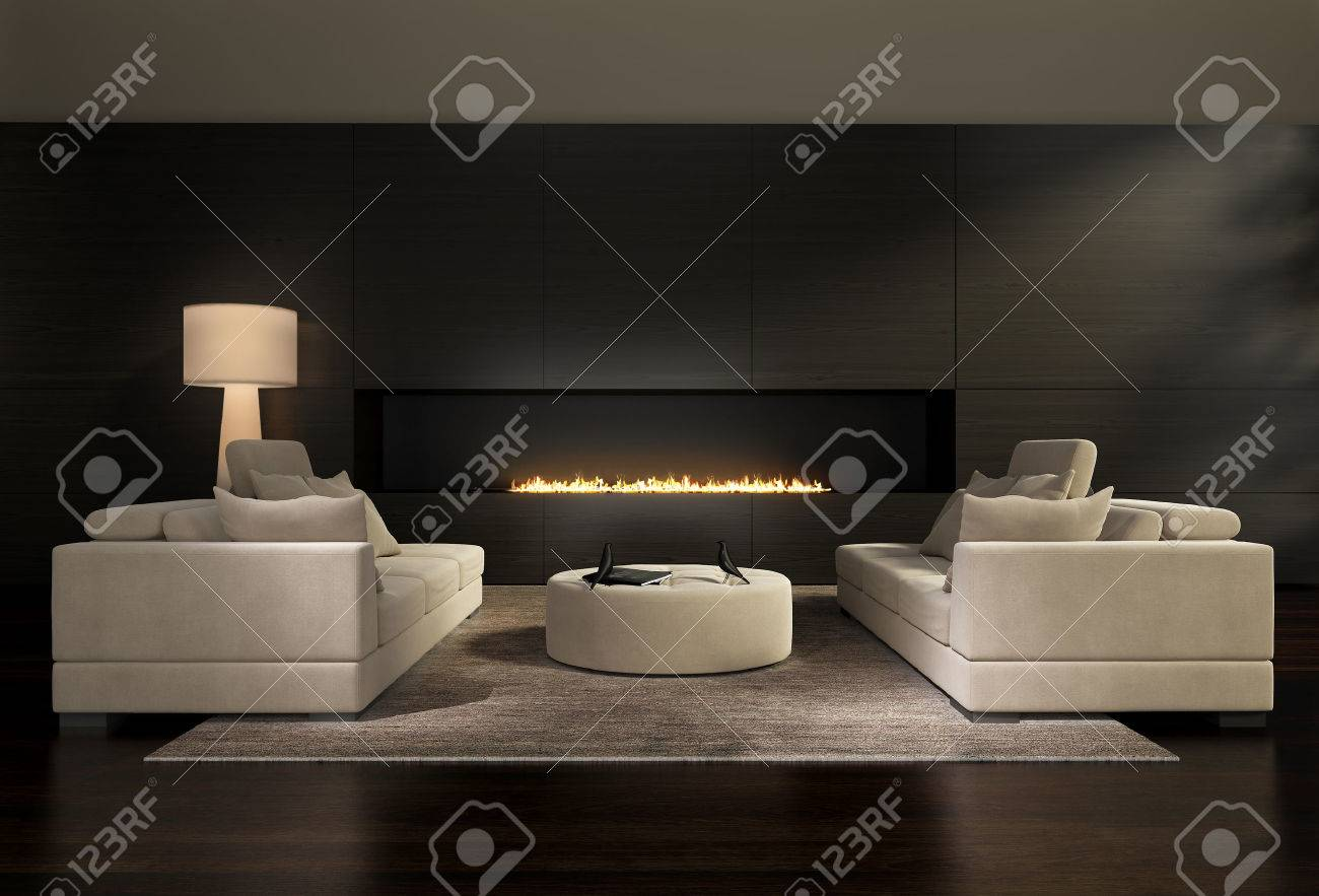 Dark Contemporary Interior A Living Room With A Flat Gas Fireplace Stock Photo Picture And Royalty Free Image Image 22679951