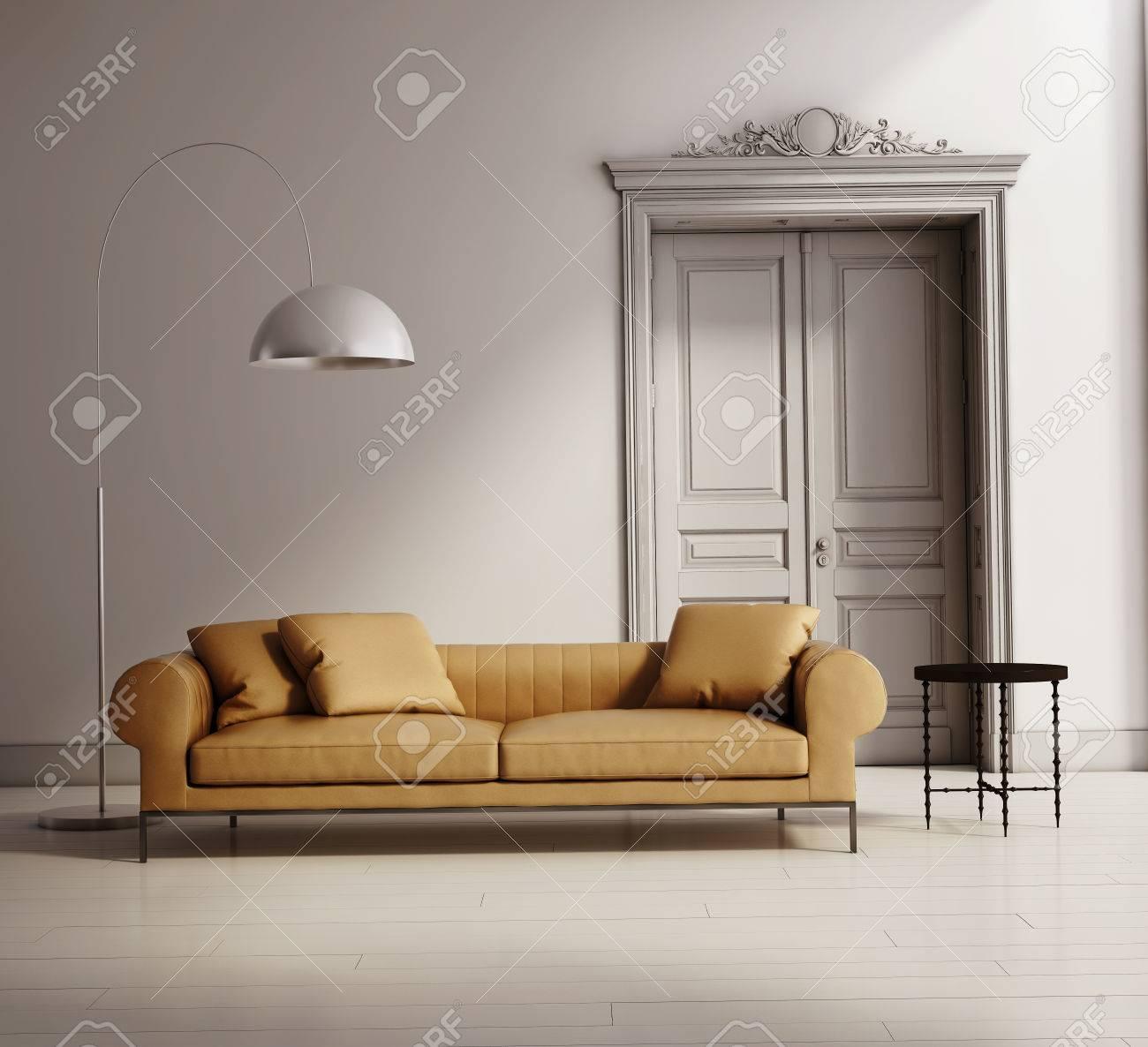 Eigentijds klassiek salon, beige lederen bank, houten vloer ...
