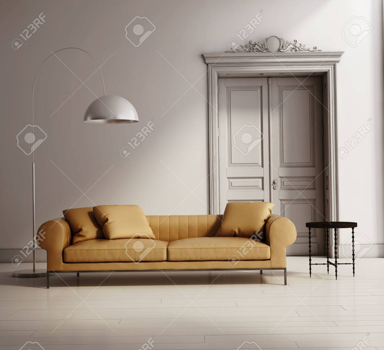 Zeitgenössische Klassischen Wohnzimmer, Beige Ledersofa, Holzboden ...