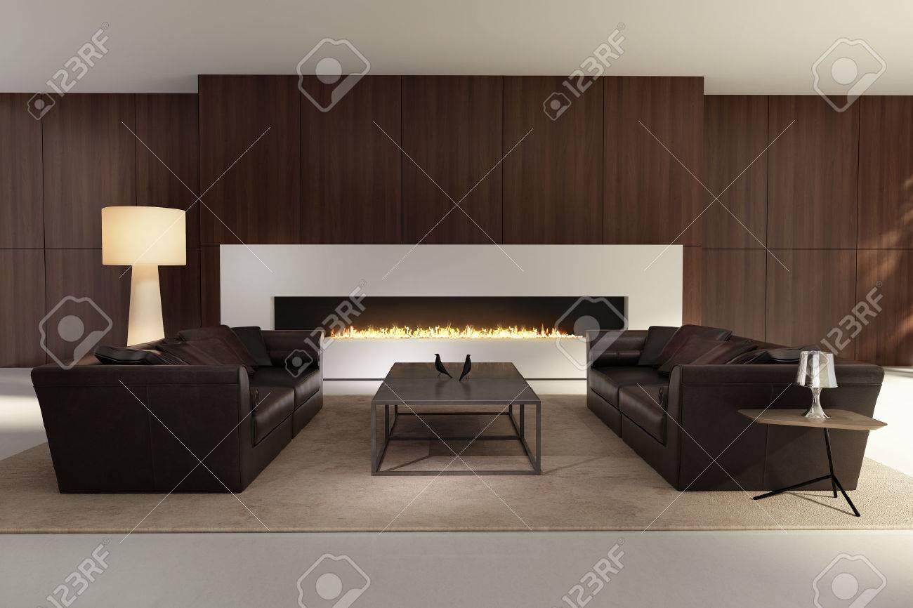 Modernes Interieur Ein Wohnzimmer Mit Einem Flach Gas Kamin Lizenzfreie Bilder