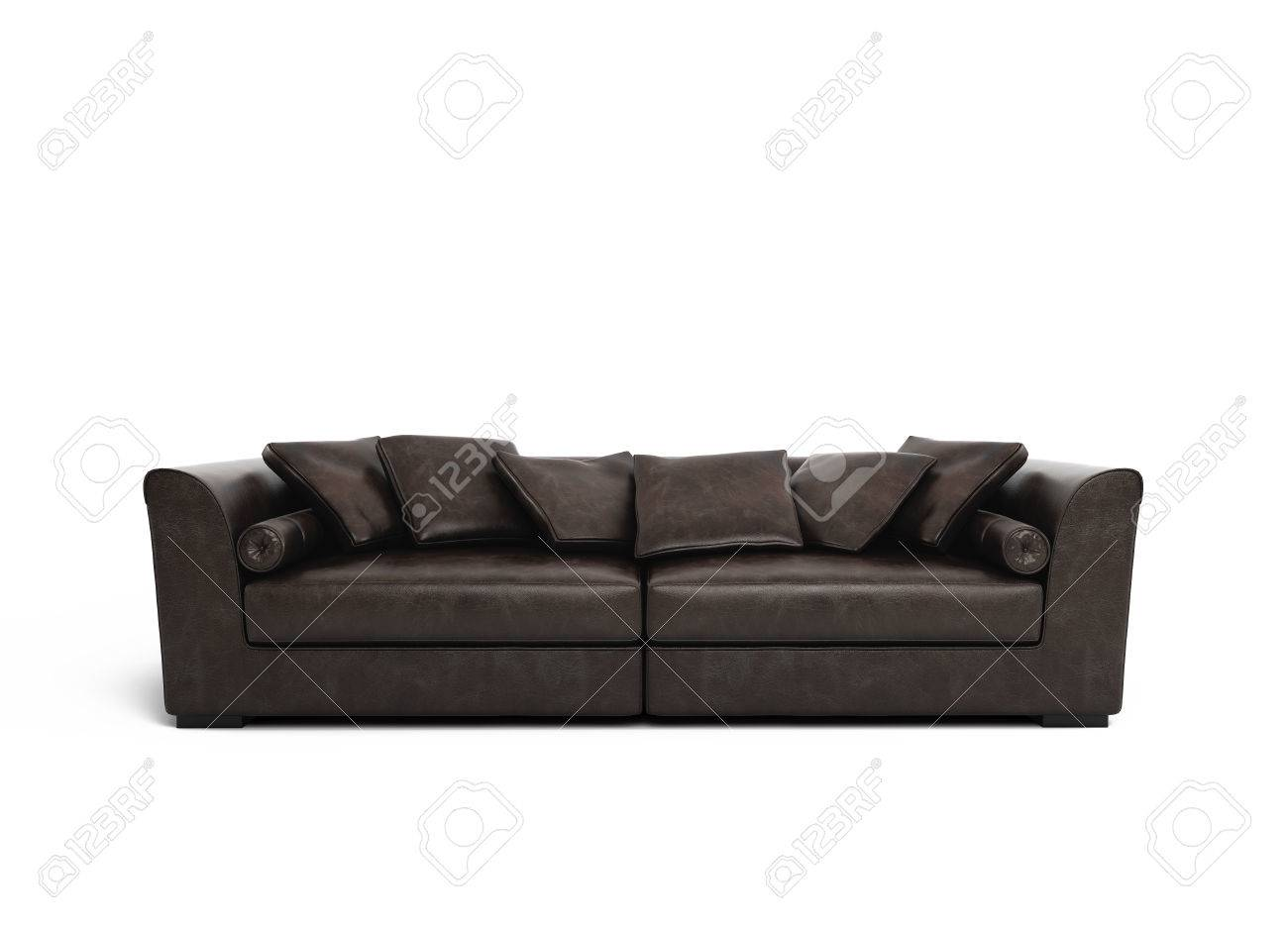Isolated contemporary elegant dark brown leather sofa Stock Photo - 23962377