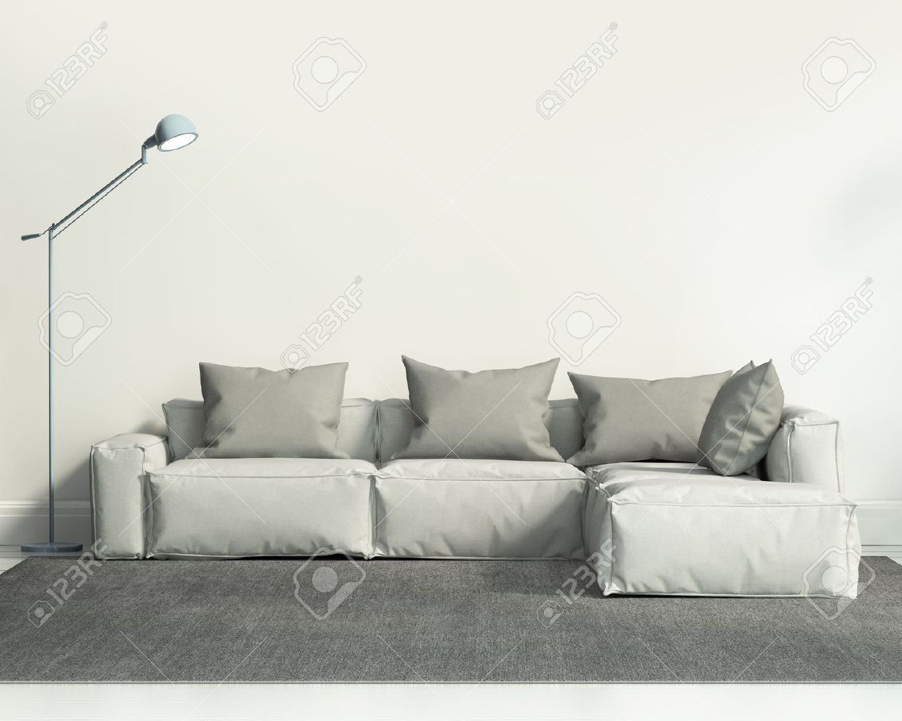 Contemporary White Living Room With Sofa And Grey Rug Stock Photo ...