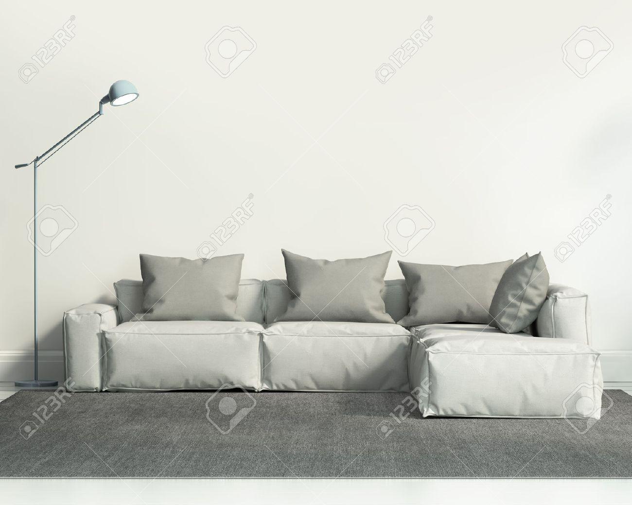 Salon contemporain blanc avec canapé et tapis gris